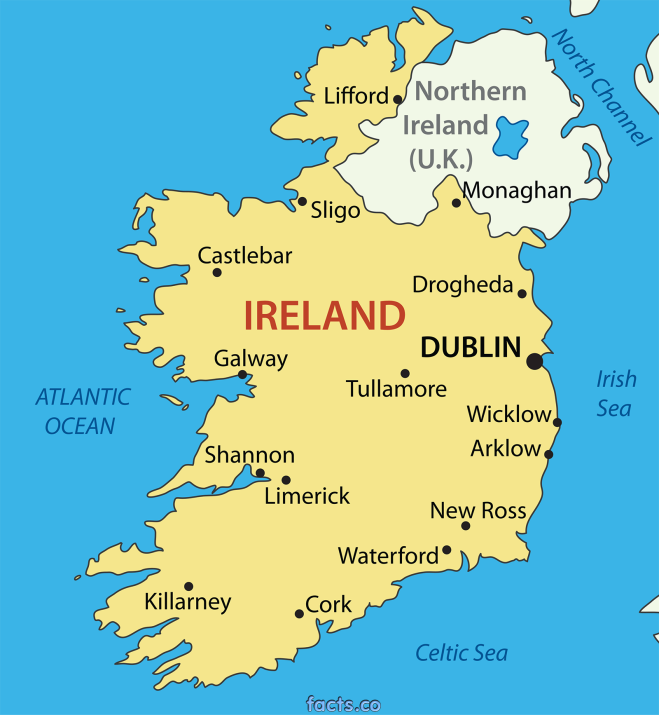 IrelandPoliticalMapwithCities